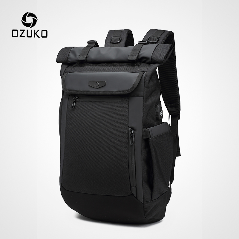 OZUKO Men Backpack Fashion Schoolbag for teenager Male 15 6 inch Laptop Backpacks Water Repellent Oxford