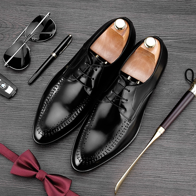 2017 Italian Designer Pointed Toe Lace up Man Formal Dress Shoes Genuine Leather Handmade Oxfords Men's Derby Wedding Flats NE69 elanrom summer men formal derby wedding dress shoes cow genuine leather lace up round toe latex height increasing 30mm massage