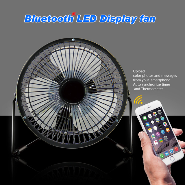 18cm/7in Hot Sale Portable Multifunction Bluetooth USB Led Display FAN with  Mobile Message Photo,can change the image by app
