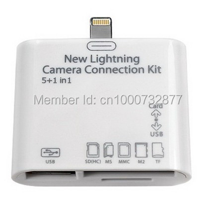 1pcs Newest 5 in 1 Card Reader USB camera connection kit for iPad 4/air/Mini Compatible with IOS7 Free Shipping!!
