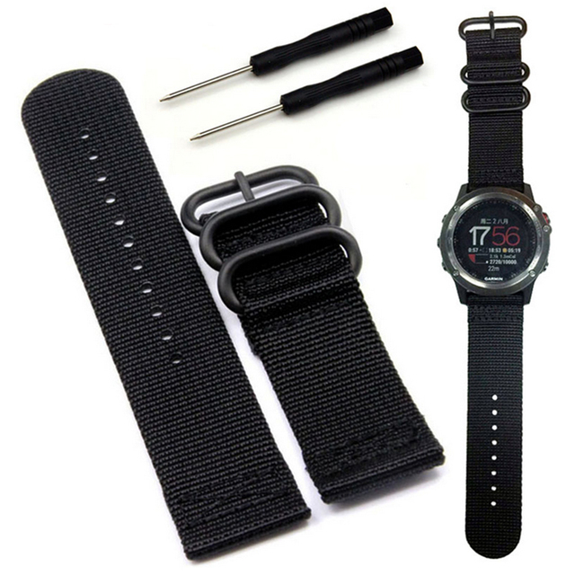 Nylon Watch Band 26mm Luxury Nylon Strap 3 Ring Watch Replacement Band For Garmin Fenix 3 Black/Green 2016 Hot Sale Fashion