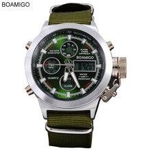 Часы мужчины люксовый бренд BOAMIGO спорт военные часы Dual Time Кварцевые Аналоговые Цифровой СВЕТОДИОДНЫЙ нейлон кожа наручные часы F517
