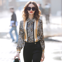 blusen women 2019 spring summer office women women's tops and blouses blouses shirt leopard print satin shirt jacket