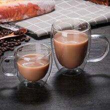 1 шт., двойные кофейные кружки с ручкой, чашки для напитков, теплоизоляция, двойные стенки, стеклянная чайная чашка, креативный подарок, посуда для напитков, молоко
