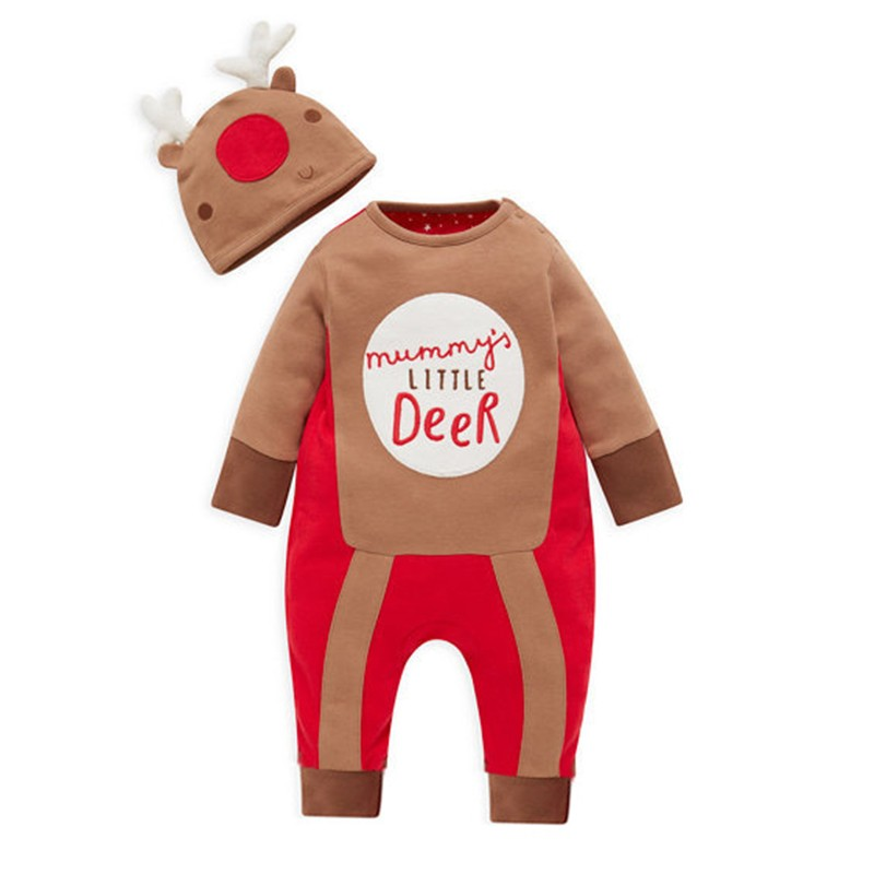 HTB1WGAROpXXXXbkXXXXq6xXFXXXd - Anlencool Baby Rompers  New Autumn Christmas Baby Girl Clothes Neonatal Clothes Baby Clothes Fawn Print Rompers+Hat 2Pcs