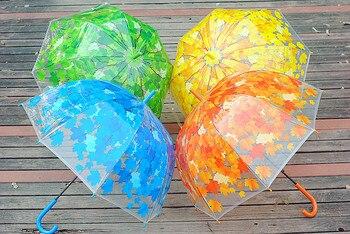 4 Colors Leaves Cage Umbrella Transparent Rainny Sunny Umbrella Parasol Cute Umbrella Women Cute Clear Paraguas