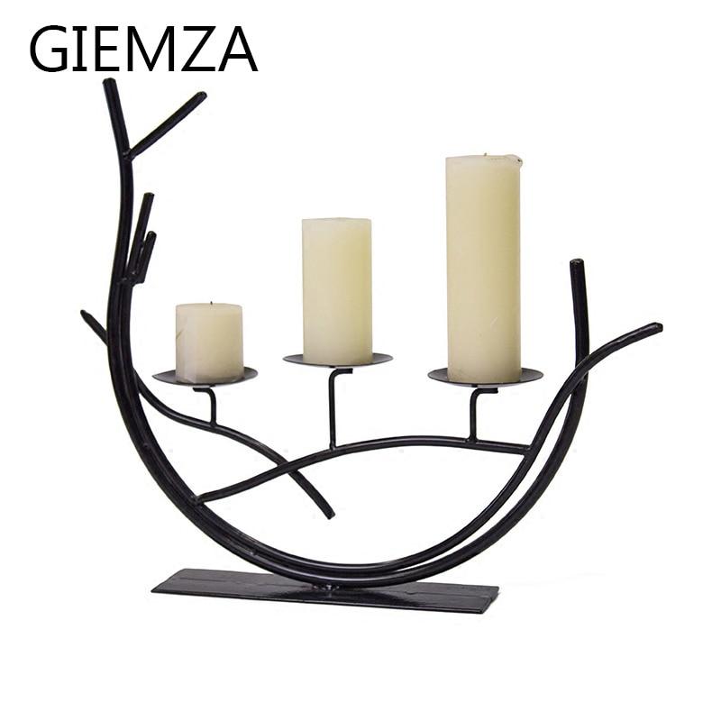 GIEMZA fekete vas gyertyatartók romantikus vacsora ágak fehér - Lakberendezés