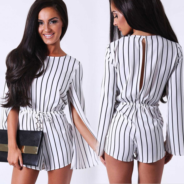 ffcb0be134a 2016 fashion backless striped elegant jumpsuit split-sleeved black and white  piece pants shorts sexy short summer jumpsuit 2015