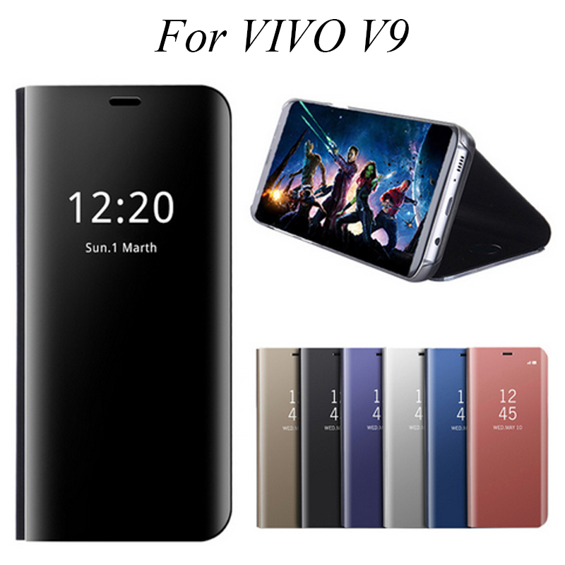 VIVOV9 Mirror Flip Case For VIVO V9 V 9 Luxury Clear View PU Leather Cover Smart for