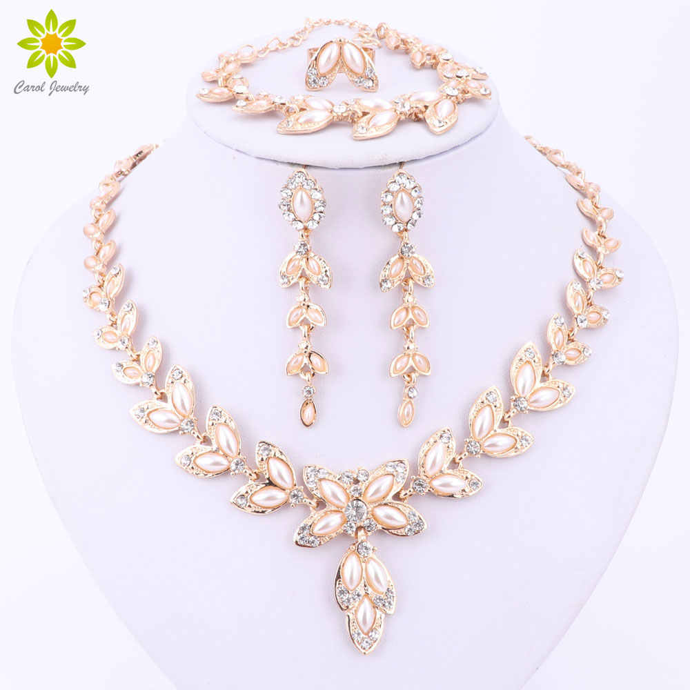 Simulated Pearl Jewelry Sets For Women Pendant African Beads Crystal Necklace Earrings Ring Bracelet Fine Accessories
