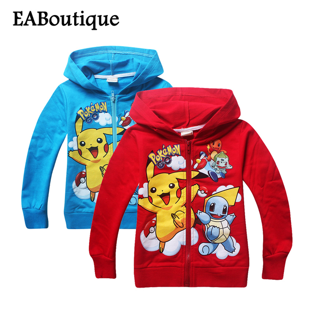 Winter sweatshirt Cotton Cartoon POKEMON GO Pikachu Kids boys girls clothes long sleeve hoodies with zipper retail 1 pcs