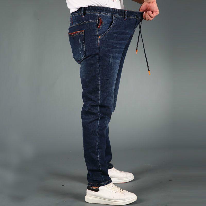 Lguc. h 2018 Новый Классический Для мужчин S джинсы прямые джинсы Для мужчин Мода Drawstring джинсы эластичный пояс плюс Размеры 4XL 5XL Лидер продаж ...
