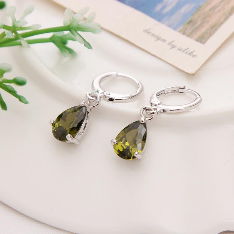 Gold Color Earrings Green Water Drop CZ Stone Pierced Dangle Earrings Women/Girls Long Drop Earrings fashion jewelry 21