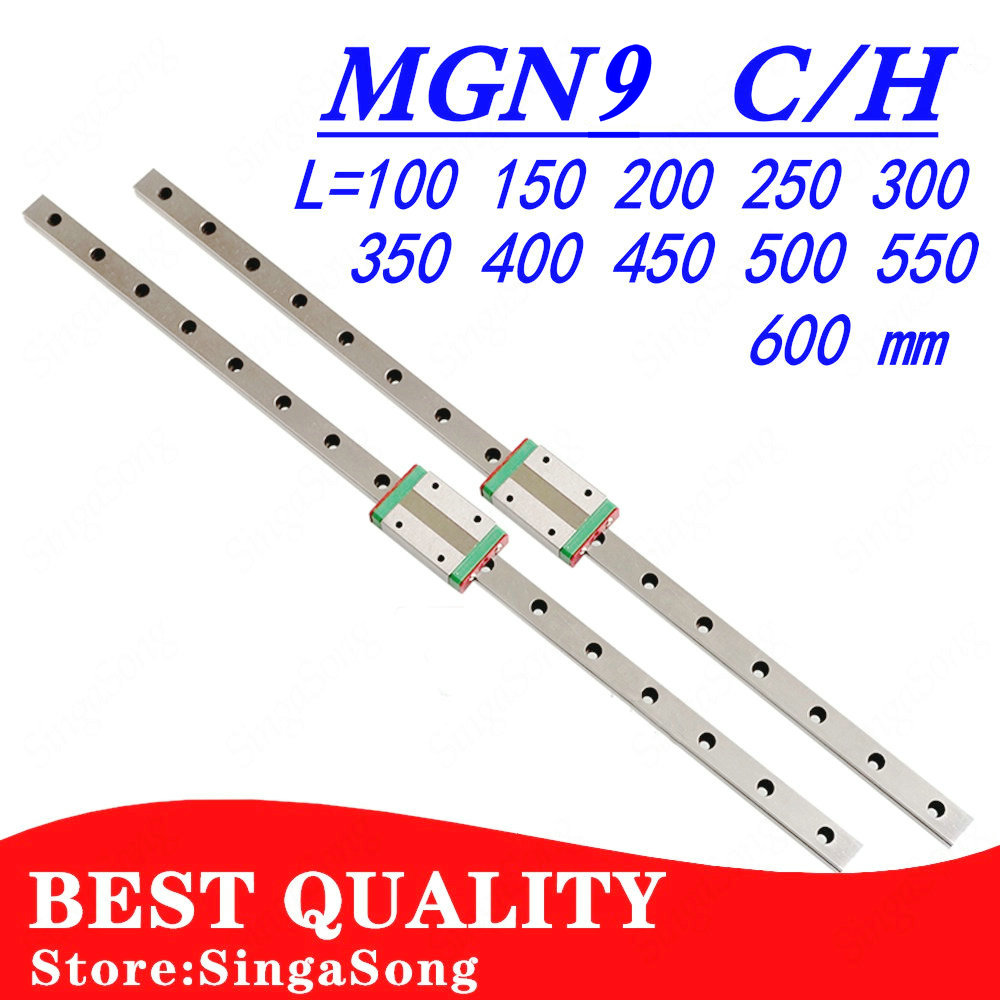 NEW 9mm Linear Guide MGN9 100 150 200 250 300 350 400 450 500 550 600 1000mm Linear Rail + MGN9H Or MGN9C Block 3d Printer CNC