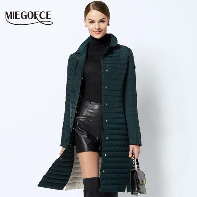 MIEGOFCE 2019 nowych kobiet wiosna płaszcz z szalik kobiet kurtka kobiety stoją kołnierz cienki przekrój bawełna odzież projektant nowy