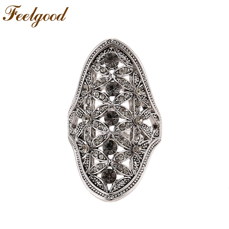 Feelgood Vintage Jewelery Fashion Design Black Crystal Flower Wedding Ring Antique Silver Color Retro Rings For Women Party Gift