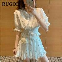 RUGOD Elegant Women chiffon 2 Piece Set Korean chic ruffles dot printed mini skirts & V neck elastic waist blouse Skirt Set 2019