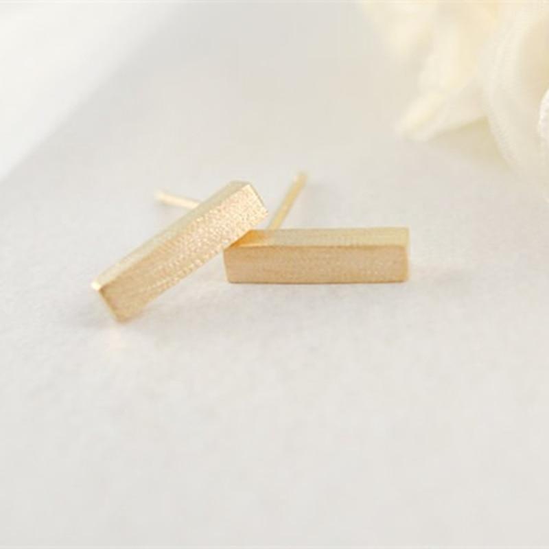 Aliexpress.com : Buy Simple Design Brushed gold Bar Earring Stud ...