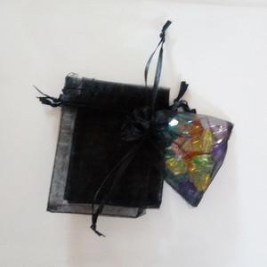 Image 2 - 1000 adet Siyah hediye keseleri Için takı çantaları Ve Ambalaj organze çanta İpli Çanta Düğün/Kadın Seyahat Depolama Ekran Torbalar
