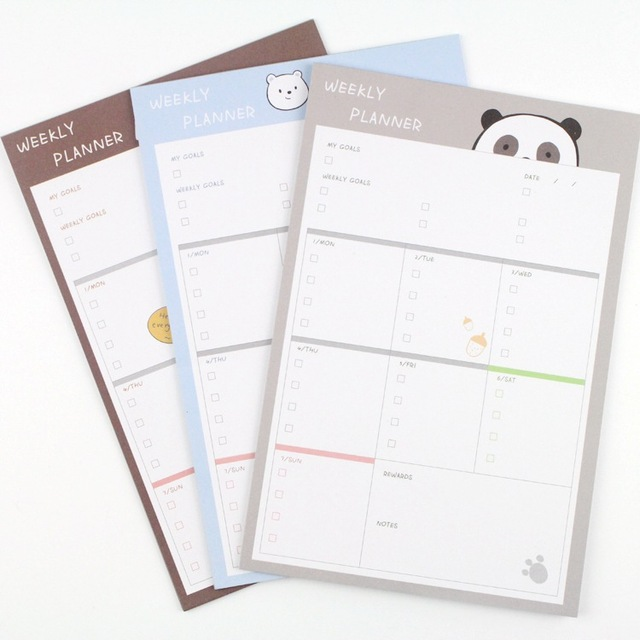 korea stationery new memo notepad weekly planner mini notebook for student classmate gift stickers plan