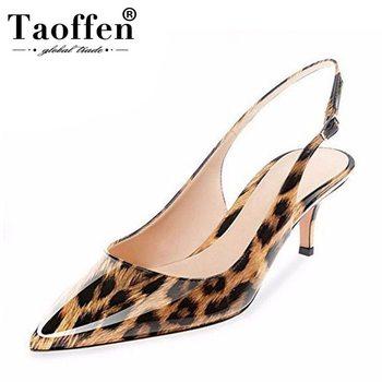 Taoffen Size 12 Colors Size 35-45 Women High Heel Shoes Buckele Pointed Leopard Sexy Women Pumps Female Wedding Footwear