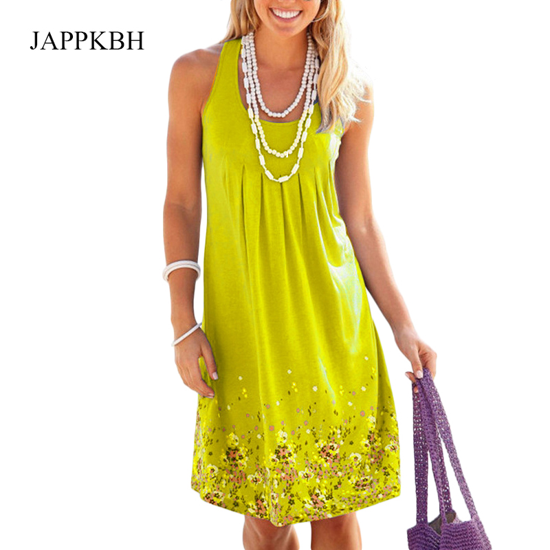 JAPPKBH Sexy Dress Women Summer 2019 New Casual Vintage Slee