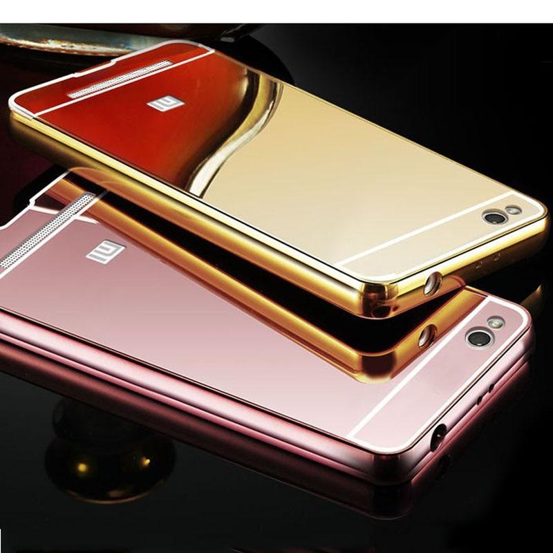 uk availability dab6e 4f011 US $3.74 |For Xiaomi Redmi 3S Phone Fundas Mirror Case Aluminum Metal Frame  + Plating Back Cover For Xiaomi Redmi 3 Pro Bumper Coque Capa on ...
