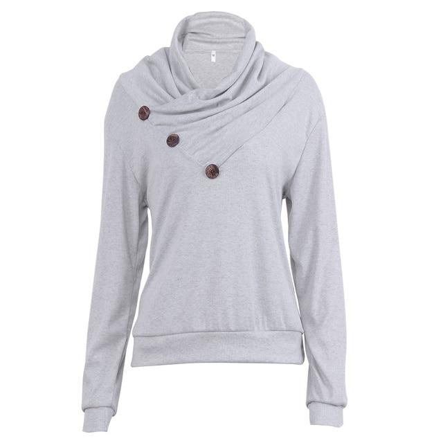 b8d7177e9e5b Kenancy Casual Women Hoodies Long Sleeve Cowl Neck Autumn Sweatshirts Gray  Buttons Solid Color Female Hoodie