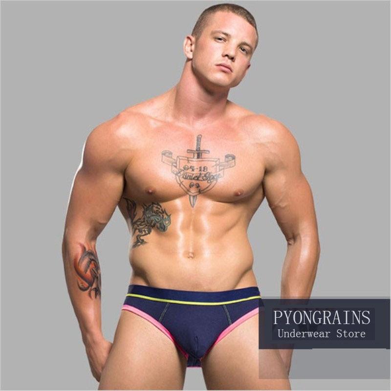 PYONGRAINS Underwear Men Male Sexy Briefs Cotton Fabric Hollow Design Men Underwear Briefs Men Underpants Cuecas Gay Underwear