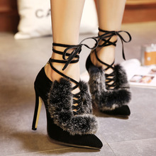 2016 Spring font b Women s b font Ankle Strap Pumps Rabbit Fur Pointed High heeled