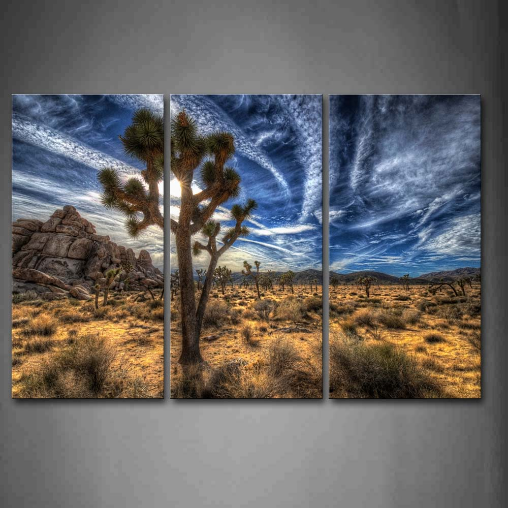 Framed Wall Art Pictures Trees Desert Grass Canvas Print Landscape Posters With Wooden Frames For Home Living Room DecorFramed Wall Art Pictures Trees Desert Grass Canvas Print Landscape Posters With Wooden Frames For Home Living Room Decor