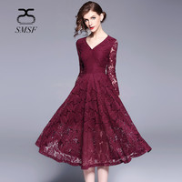 SMSF Spring Fashion 2018 Hollow Out Dress Casual Slim Vintage Sexy Lace Dress Beauty Elegant V