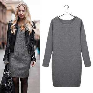 637d3f13d42 Favolook 2018 Women Long Sleeve Casual Sweater Dress Autumn
