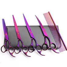 C3003 5Pcs 7.0 19.5cm JP 440C Customized Logo Grooming-for-dog Hairdresser for dogs Styling Tool Professional Pets Hair Shears