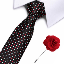 2 pcs Top quality necktie set Black Plaid Silk Jacquard Neck Slim tie Set Ties For Men Business Wedding Party Tie Pin