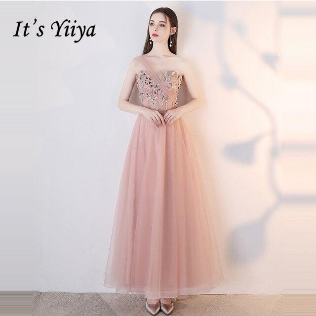 It's YiiYa Bridesmaids Dresses Strapless Sleeveless Lace A-Line Tulle Flower Formal Dress Lady Fashion Designer LX1045