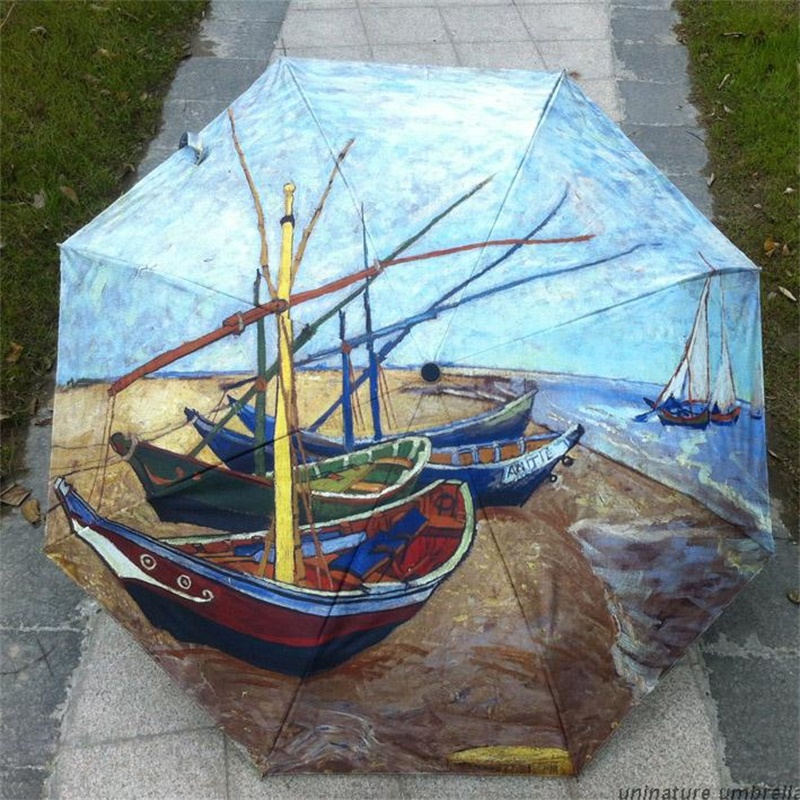 Oil Painting Boat pattern Sun Rain Umbrella Rain 3 Folding Thickening Ladies Women Anti UV Fashion Abstract Art