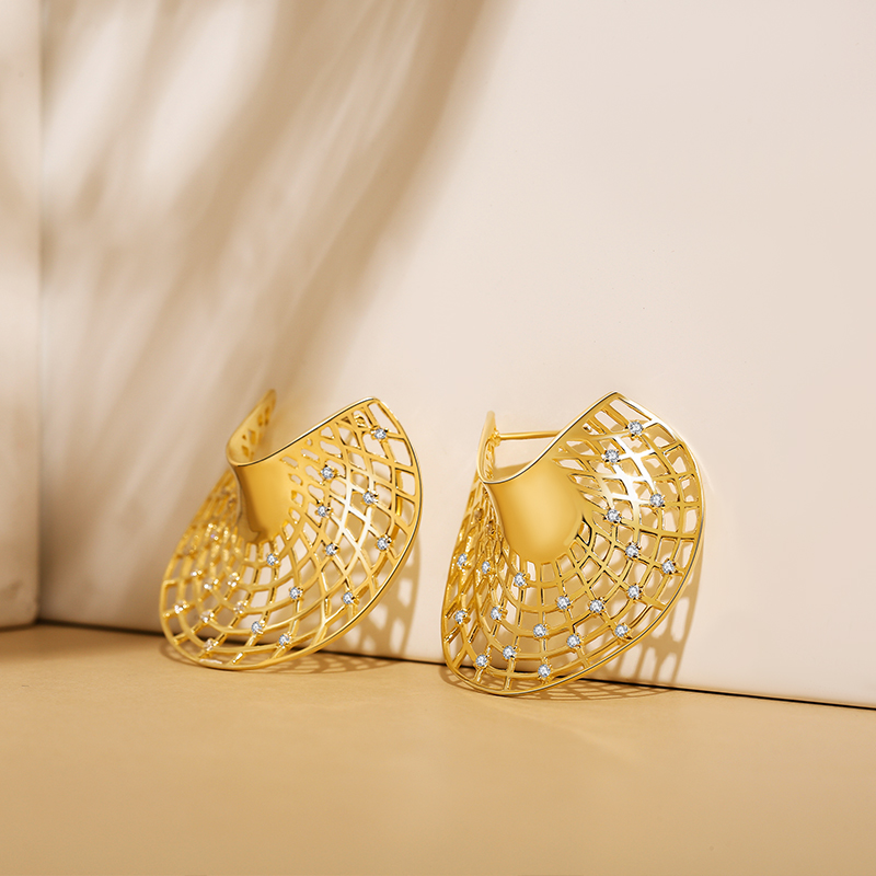 SA SILVERAGE 14K Yellow Gold Plated Sector Stud Earrings for Women AAA Zirconia Earrings Fashion Jewelry