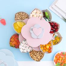 Double-Layer Rotating Fruit Plate Petal-Shape Storage Snack Tray