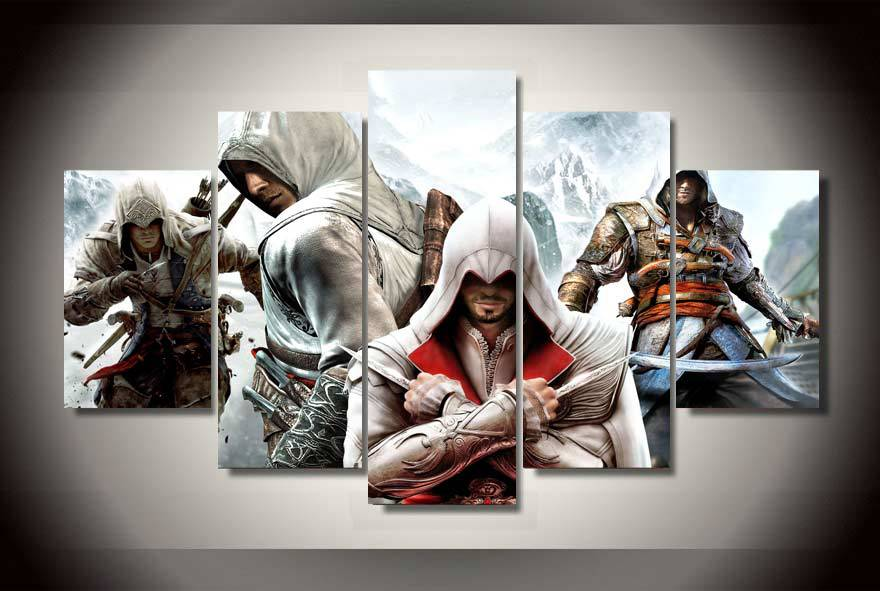 Kein Rahmen) 5 Panel Wandkunst Leinwand Poster Assassins Creed 4 ...