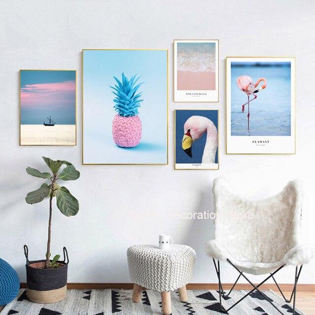Leinwandbilder Ananas Pink Flamingo Sea Posters And Prints Decoration Home  Wall Art Canvas Painting Art Print