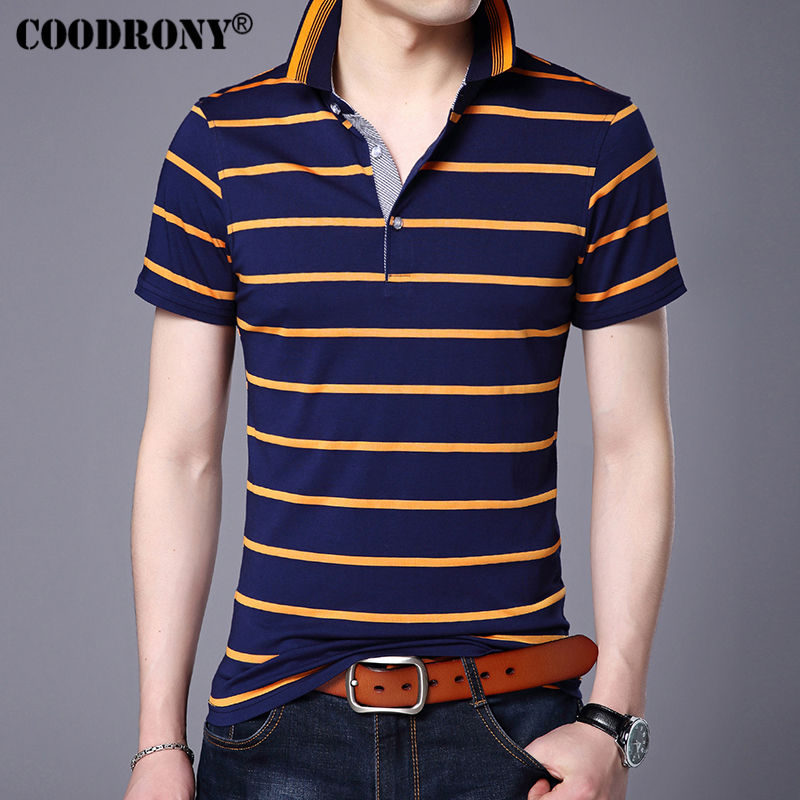 COODRONY Casual Striped Print Short Sleeve T Shirt Men 2017 Spring Summer New Top Men Brand Clothing Cotton T-Shirt Jersey S7649