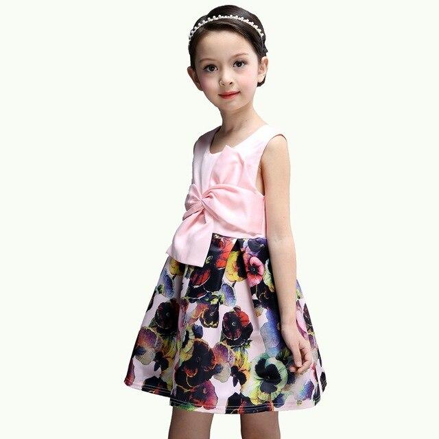 3263ce320341d US $17.22  Kids Girl Clothes Dresses Summer Flower Dress For Girls  Sleeveless Printed Formal Party Princess Dress Children Girl Dress 2018-in  Dresses ...