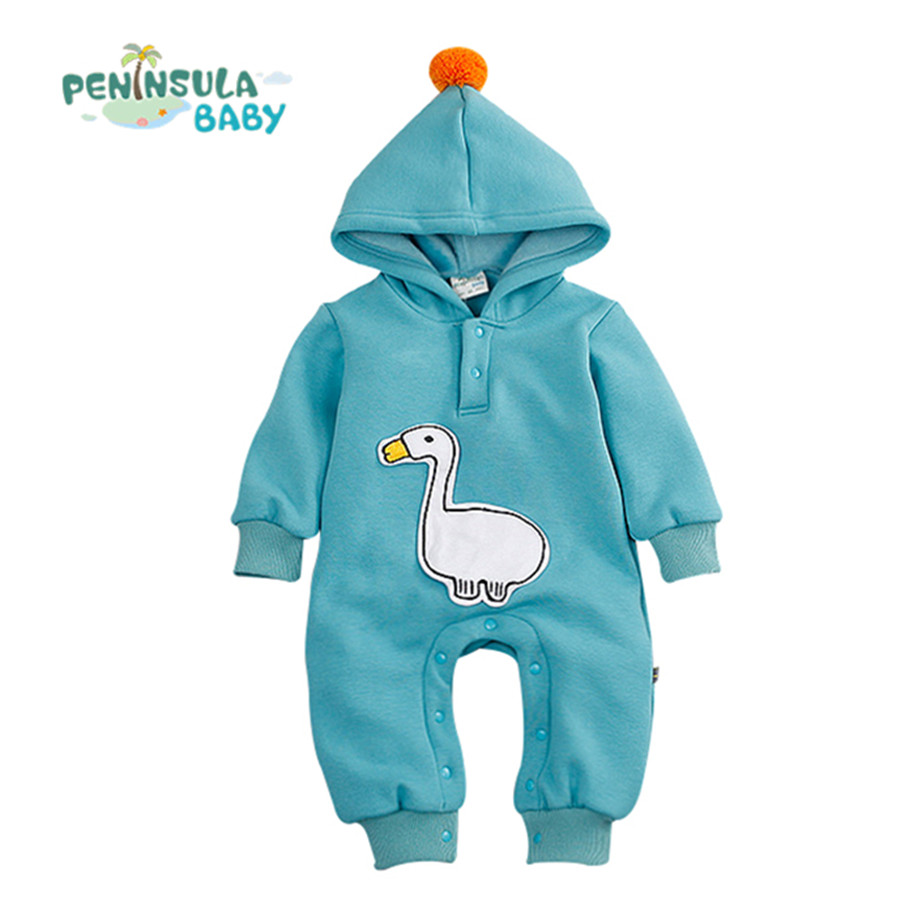 Baby Clothes Hooded Newborn Rompers Infant Thick Long Sleeve Jumpsuits Cute Cartoon Boys Girl Autumn Clothes Outerwear cotton baby rompers set newborn clothes baby clothing boys girls cartoon jumpsuits long sleeve overalls coveralls autumn winter