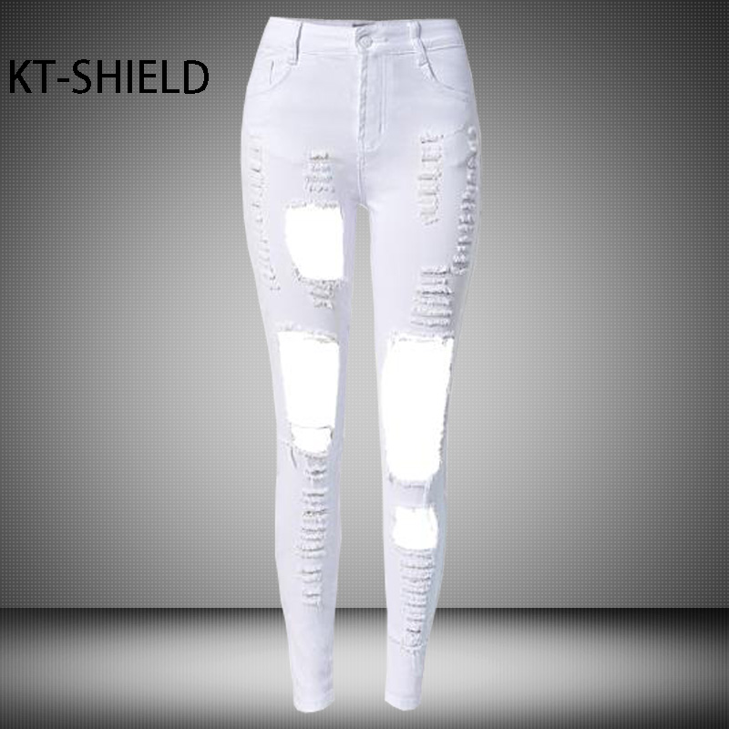 Fashion Holes ripped Boyfriend Jeans women white Elastic Destroyed Female Pants Trousers Sexy Skinny High waist Pencil Jeggings boyfriend jeans women pencil pants trousers ladies casual stretch skinny jeans female mid waist elastic holes pant fashion 2016
