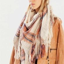 Za Winter Scarf Knit 2016 Oversize Tartan Scarf Plaid Scarf Women Bandana New Designer Acrylic Blanket Scarves Shawl
