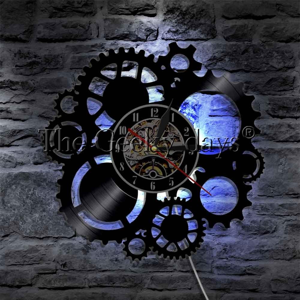 1 piece steampunk levou parede de luz sinal de engrenagens da engrenagem relogio mudanca da cor