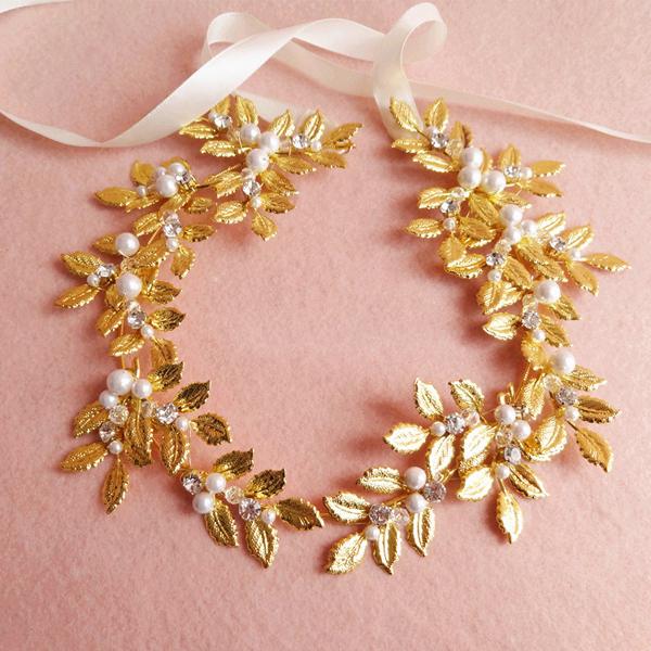 2017 Nuevo Oro de La Llegada plateó Royal tiaras y coronas, venda de boda, real elegante accesorios para el cabello, la hoja de la corona