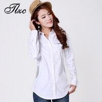 Hot Sale Casual Design Woman Tops 2015 Noble Women Cotton White Shirt Size S 3XL Autumn