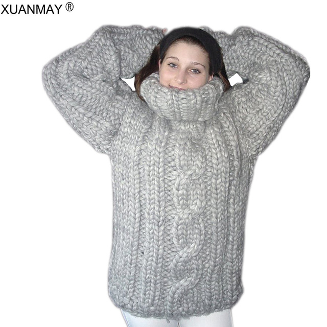 Winter super Thick warm women s Turtleneck Sweater fashion hand-woven Large  size 5XL code Pullover sweater 2018 Autumn Sweater 5b417a69e
